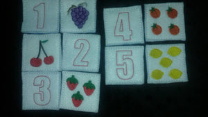 Back to school - Felt Fruit Number Memory Game - toddler game - counting game - education - learning game - strategy - felt toy