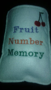 20 Piece Felt Fruit Number Memory Game with Matching Bag - educational - learning game - strategy - felt toy