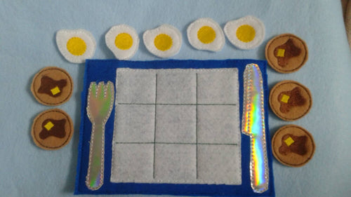 Pancake breakfast tic tac toe Party Favor - pancake slumber party - Board and Pieces -  Classic Game - Quiet Toy
