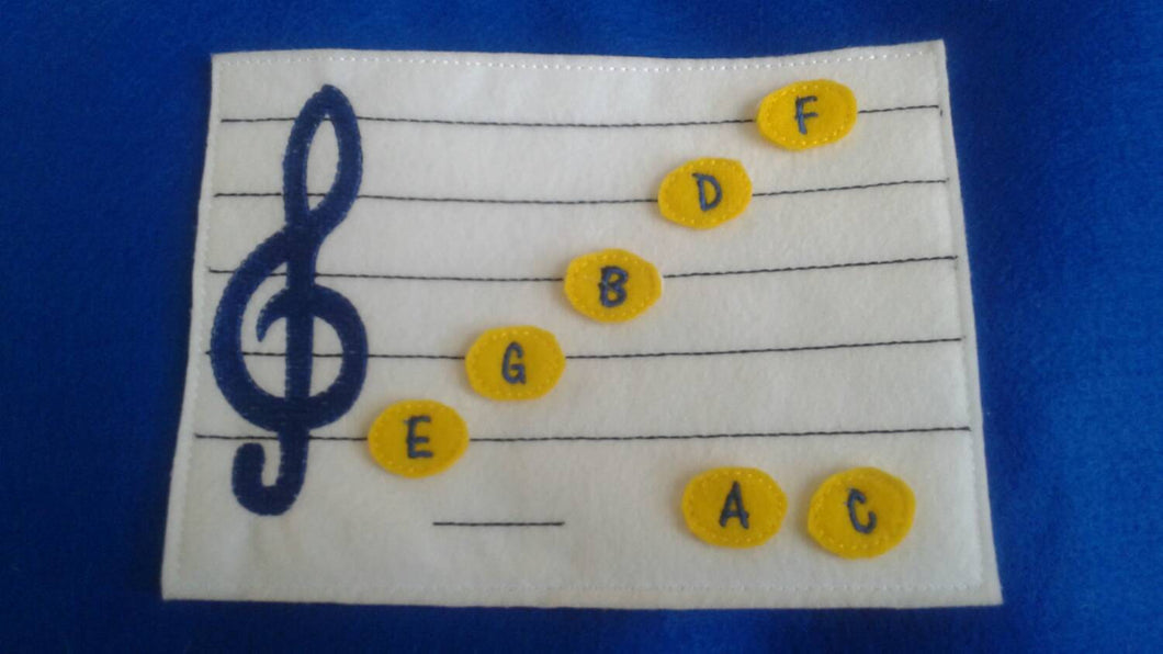 Learn How To Read Music - Quiet game board - music teacher tool- Felt Music Game - Movable Music Notes - treble clef - Music Scale