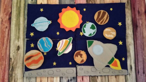 Outer Space - Playset - Sun -  space shuttle - planets, felt board - Quiet toy - Learning - Educational Toy - galaxy- stars - solar system