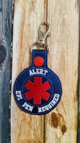 Alert EpiPen Required Keychain - Backpack Zipper Pull - medical alert - food allergy - bee sting -Allergy - allergic reaction - key fob
