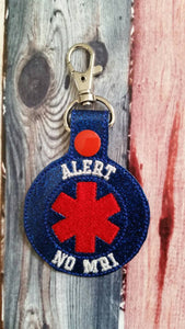 Alert No MRI Keychain -  Backpack Zipper Pull - medical alert - Allergies - cochlear implant - pacemaker - metal implants - medical bag
