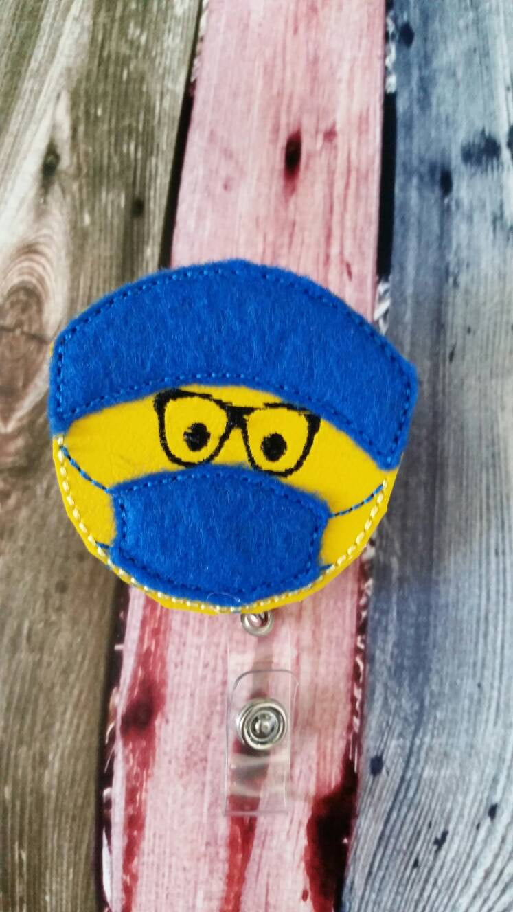 Surgeon with Face Mask Badge Reel - Retractable Badge Reel - Made with Vinyl and Felt and Embroidered - Durable - Uniform