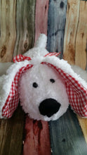 Stuffed Puppy Dog Soft Toy....  White Fluffy Fleece with Red and White Gingham Accents