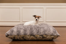 Grey and Yellow Paisley Luxury designer dog bed