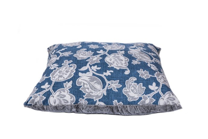 Blue Grey Floral Paisley Luxury designer dog bed