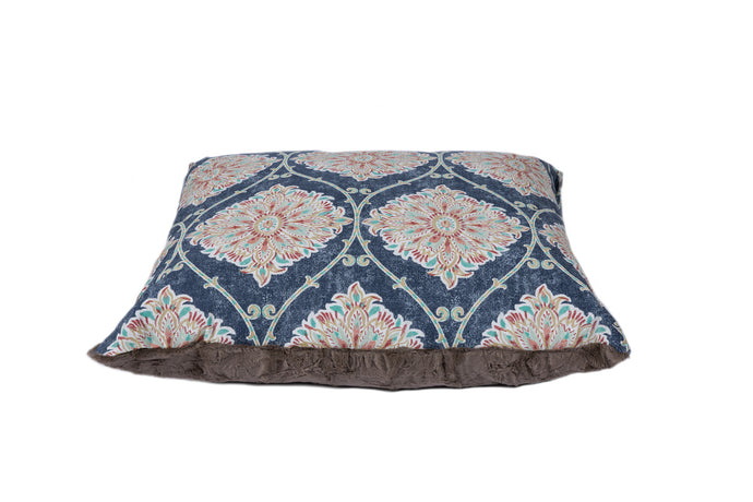 Blue Multi Framed Floral Luxury designer dog bed