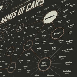 Taxonomy Of Car Model Names - Infographic Art Print - Automo