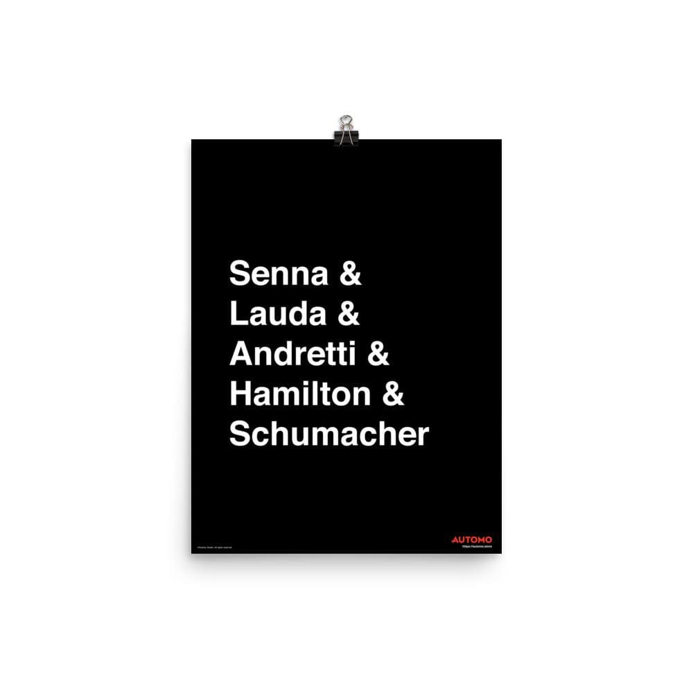 Art Print Tribute to Formula 1 Drivers -  Art Print - Automo Design Co.