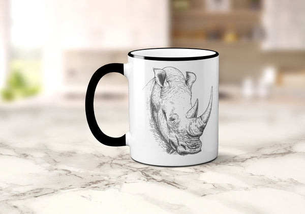 Rhino Coffee Mug, Vintage Safari Animal Illustration, Rhinoceros Coffee Cup, Rhino Mug, Sublimated 11 oz, Colored Handle & Rim