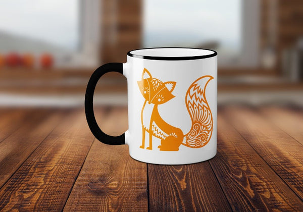 Whimsial Fox Coffee Mug, Cute Fox Coffee Cup, Fox Mug, Sublimated 11 oz Colored Handle & Rim