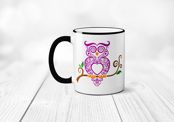Fancy Owl Coffee Mug, Funny Coffee Mug, Owl Coffee Cup, Decorative Owl Mug, Funny Coffee Cup, Sublimated 11 oz Colored Handle & Rim