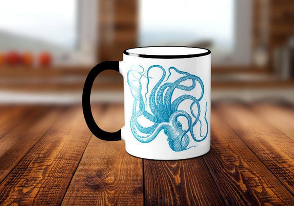 Octopus Coffee Mug, Kraken Coffee Cup, Ocean Animal, Sea Creature, Nautical Coffee Mug, Sublimated 11 oz Colored Handle & Rim