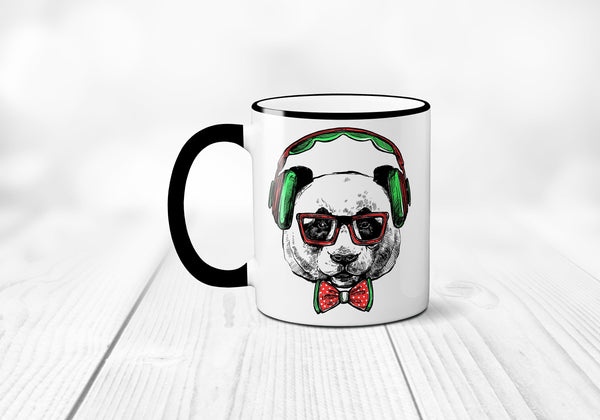 Hipster Panda Coffee Mug, Panda Bear Mug, Rain forest Animal Wearing Glasses, Headphones, Sublimated 11 oz, Colored Handle & Rim