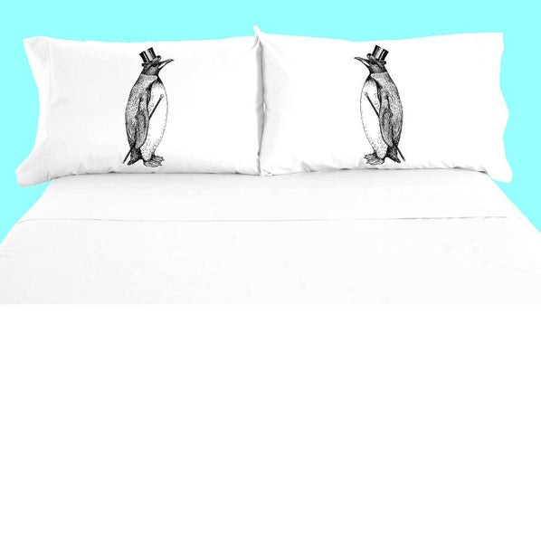 Dapper Penguin Pillowcase Set, Funny Tuxedo Penguin Pillow Case, 100% Cotton, Bedding, Arctic Animal Decor Bedroom