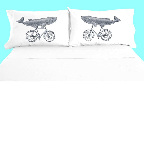Funny Whale Pillowcase Set, Whale Riding Bicycle Pillow Case, 100% Cotton, Bedding, Ocean Animal, Nautical Decor Bedroom