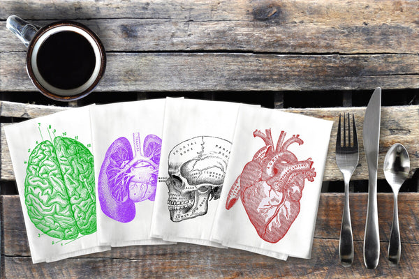 Anatomy Napkins Cloth Napkin Set, Anatomical Dinner Napkins, Cotton Halloween Table Napkins, Heart Skull Brain Lungs, Macabre, Horror Decor