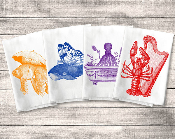 Ocean Animal Towels Flour Sack Towel, Funny Kitchen Towel Set, Fish Lobster Whale Octopus Tea Dish Towel, Nautical Decor, Housewarming Gift