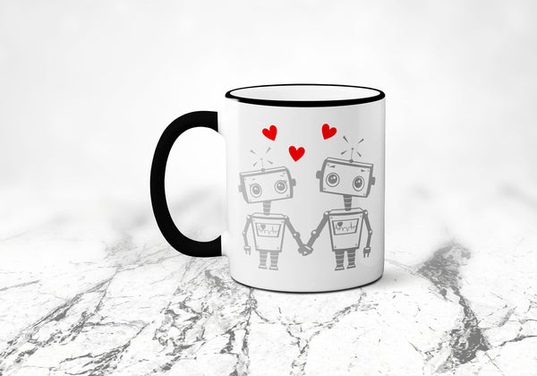 Robot Coffee Mug, Robot Love, Geek Coffee Cup, Funny Coffee Mug, Geeky Valentines Day, Sublimated 11 oz, Colored Handle & Rim
