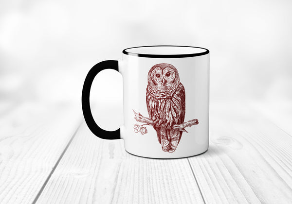 Owl Coffee Mug, Owl Coffee Cup, Ceramic Owl Mug, Owl Illustration, Gift, Sublimated 11 oz, Two Tone Colored Handle & Rim