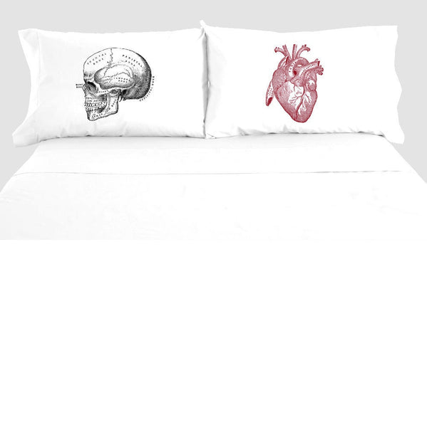 Anatomical Heart & Skull Pillowcase Set, 100% Cotton, Anatomy Pillow Case, Horror Bedding, Macabre Decor Bedroom