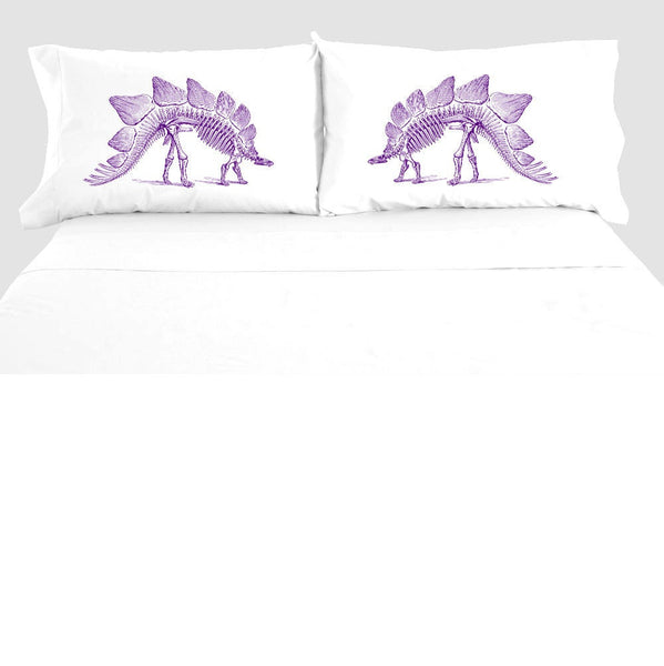 Stegosaurus Skeleton Dinosaur Pillowcase Set, Dinosaur Fossil Pillow Case, 100% Cotton, Bedding, Dinosaur Decor Bedroom