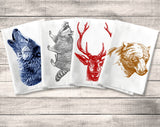 Forest Animal Towel, Flour Sack Towel Kitchen Towel Set, Deer Wolf Bear Raccoon, Dish or Tea Towel, Woodland Rustic Decor, Housewarming Gift