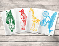 Flour Sack Towel, Silly Funny Animal Towel Kitchen Towel Set, Giraffe Whale Penguin Bear Tea or Dish Towel, Decor, Funny Housewarming Gift