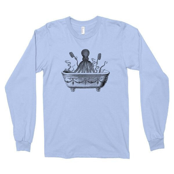 Long Sleeve Shirt, Octopus Tshirt, Funny T Shirt, Octopus Taking A Bath, Ocean Animal Tee, Printed on American Apparel