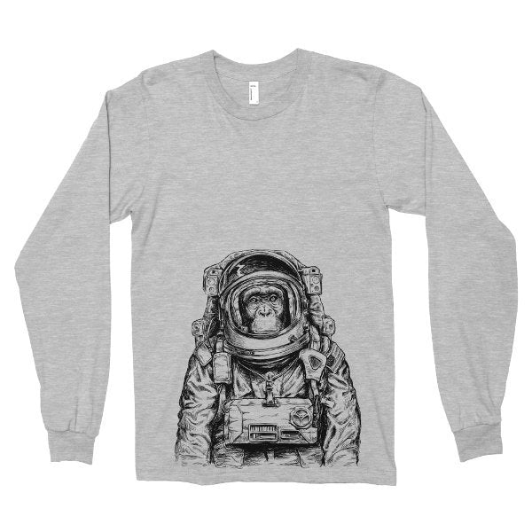 Long Sleeve Shirt, Monkey Astronaut T Shirt, Wanderlust Space Tshirt, Printed on Soft Ringspun Cotton, Funny Tee