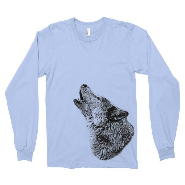 Howling Wolf Tshirt, Wolf T Shirt, Wildlife, Wild Animal Tee, Long Sleeve Shirt, Printed on American Apparel