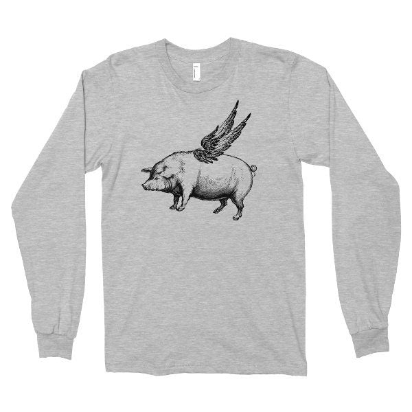 Long Sleeve Shirt, Flying Pig Tshirt, Hipster Animal Tee, Funny T Shirt, Pig With Wings, Printed on American Apparel