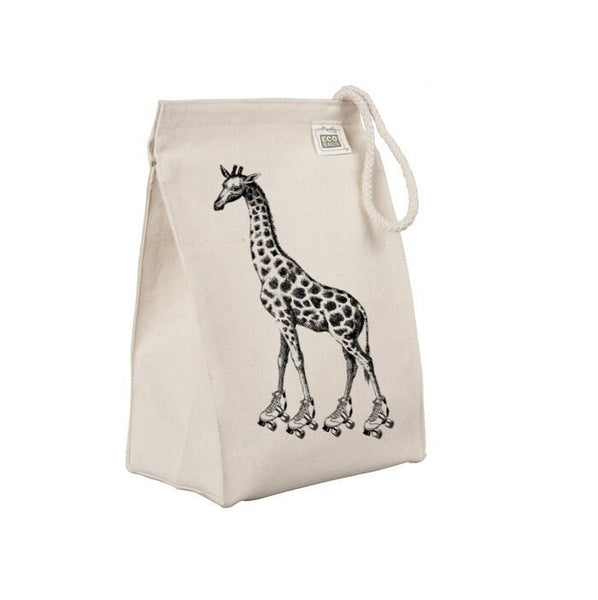 Reusable Lunch Sack, Funny Roller Skating Giraffe Lunch Bag, Roller Derby Organic Cotton Canvas Lunch Box Tote Bag Rope Handle, Eco Friendly