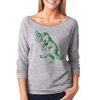 Slouchy Sweatshirt, Dancing Triceratops Sweatshirt, Dinosaur Sweater, Funny, Lightweight 3/4 Sleeve Raw Edge Raglan, Ringspun Cotton