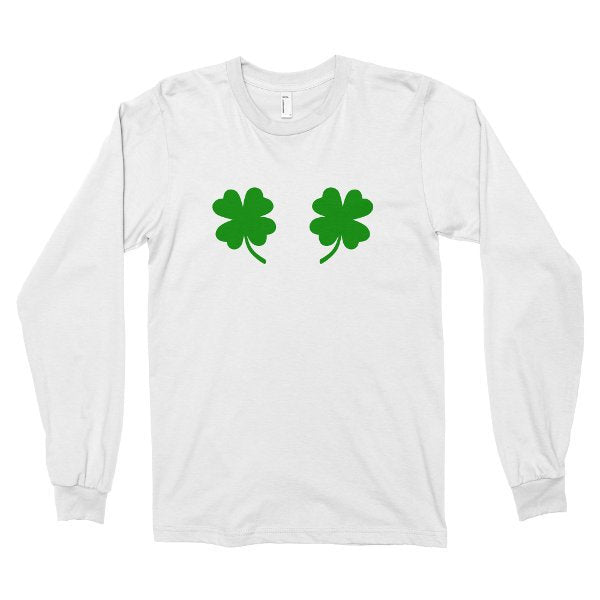 Long Sleeve Shirt, Funny St Patrick's Day Tshirt, Chest Clovers T Shirt, Shamrock Boobs Saint Paddys, Printed on American Apparel