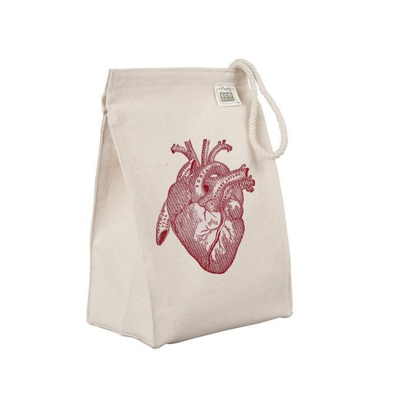 Reusable Lunch Sack, Anatomical Heart Lunch Bag, Organic Cotton Canvas Lunch Box Tote Bag, Anatomy, Medical Horror, Rope Handle Eco Friendly