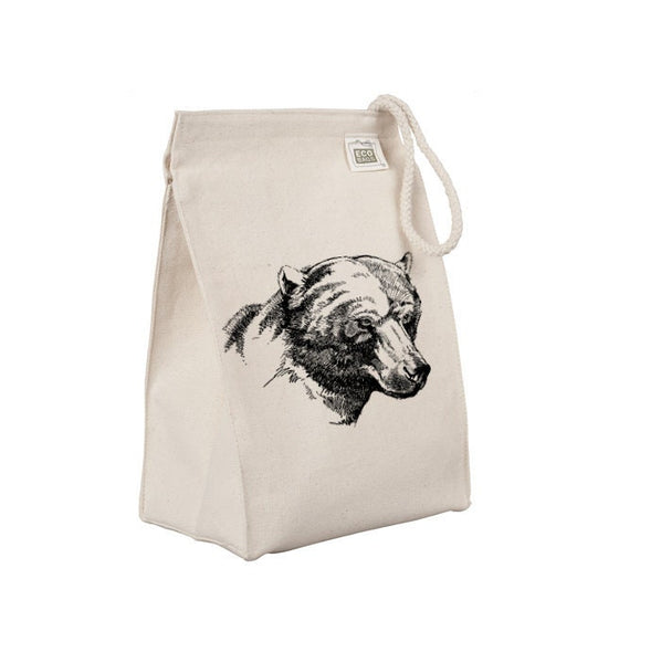 Reusable Lunch Sack, Bear Lunch Bag, Forest Animal, Rustic Wild Organic Cotton Canvas Lunch Box Tote Bag, Rope Handle, Eco Friendly