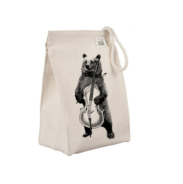Reusable Lunch Sack, Funny Bear Playing Cello Lunch Bag, Forest Animal, Organic Cotton Canvas Lunch Box Tote Bag, Rope Handle, Eco Friendly