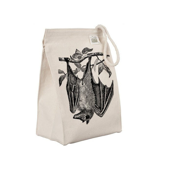 Reusable Lunch Sack, Flying Fox Bat Lunch Bag, Giant Fruit Bat, Animal, Organic Cotton Canvas Lunch Box Tote Bag, Rope Handle, Eco Friendly