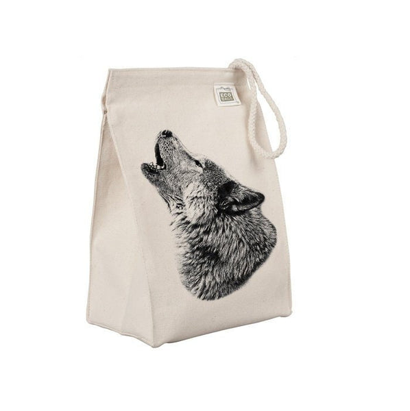 Reusable Lunch Sack, Lone Howling Wolf Lunch Bag, Forest Animal, Organic Cotton Canvas Lunch Box Tote Bag, Rope Handle, Eco Friendly