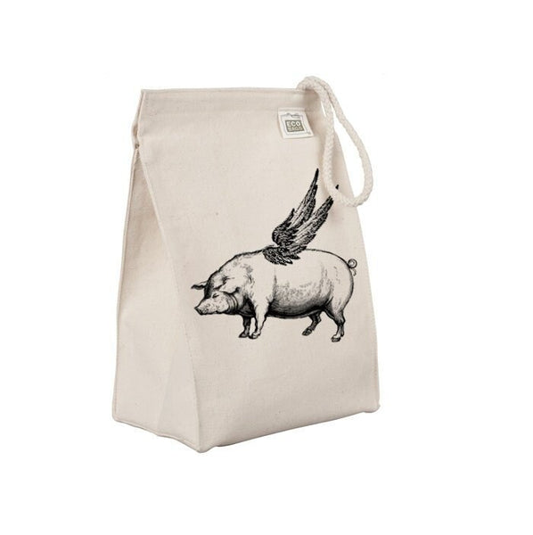 Reusable Lunch Sack, Funny Flying Pig Lunch Bag, Farm Animal, Wings, Organic Cotton Canvas Lunch Box Tote Bag, Rope Handle, Eco Friendly