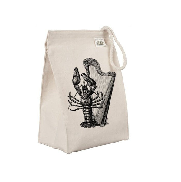 Reusable Lunch Sack, Funny Lobster Lunch Bag, Harp, Ocean Animal, Organic Cotton Canvas Lunch Box Tote Bag, Rope Handle, Eco Friendly
