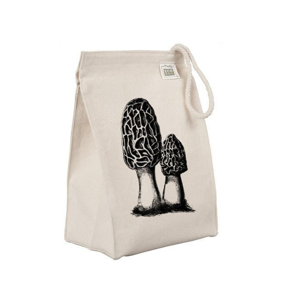 Reusable Lunch Sack, Morel Mushroom Lunch Bag, Morchella, Hunting, Hunter Organic Cotton Canvas Lunch Box Tote Bag, Rope Handle Eco Friendly