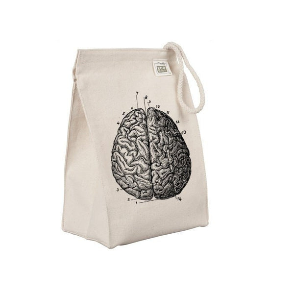 Reusable Lunch Sack, Anatomical Brain Lunch Bag, Organic Cotton Canvas Lunch Box Tote Bag, Anatomy, Medical Horror, Rope Handle Eco Friendly