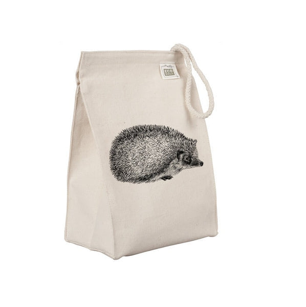 Reusable Lunch Sack, Hedgehog Lunch Bag, Hedgie, Animal Organic Cotton Canvas Lunch Box Tote Bag, Rope Handle Eco Friendly
