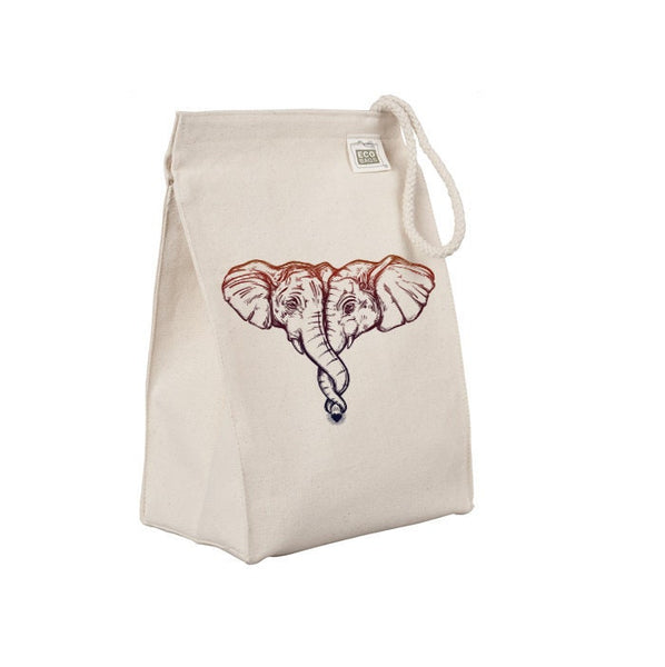Reusable Lunch Sack, Hugging Elephants Lunch Bag, African Animal Organic Cotton Canvas Lunch Box Tote Bag, Rope Handle Eco Friendly