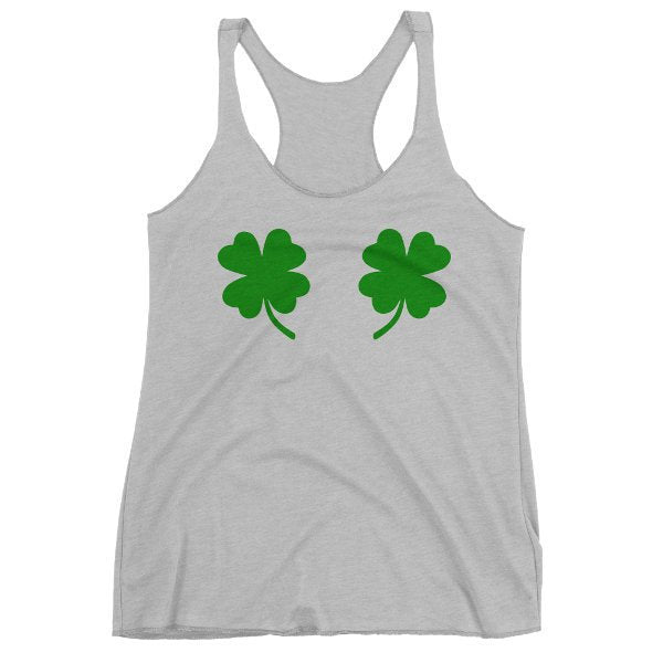 Four Leaf Clover Tank Top, Clover Boobs, Shamrock Tank, Women's Triblend Racerback, St Patrick's Day Tank, Printed On Bella Canvas Tri Blend