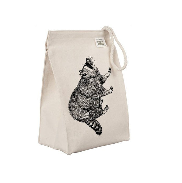 Reusable Lunch Sack, Raccoon Lunch Bag, Forest Animal, Organic Cotton Canvas Lunch Box Tote Bag, Rope Handle, Eco Friendly