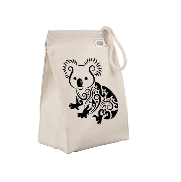 Reusable Lunch Sack, Fancy Koala Lunch Bag, Australian Animal Organic Cotton Canvas Lunch Box Tote Bag, Rope Handle Eco Friendly